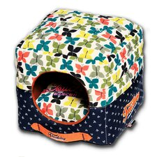 Butterfly Convertible and Reversible Squared 2-in-1 Collapsible Dog House Bed