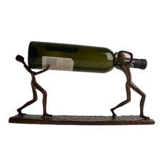 Two Men Carrying 1 Bottle Tabletop Wine Rack