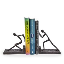Men Pushing Metal Book End (Set of 2)