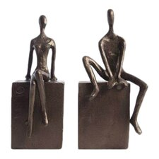 Man & Woman Sitting on a Block Book Ends (Set of 2)