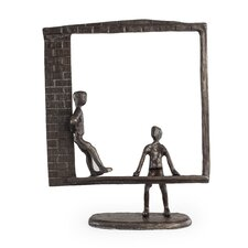 Window Kids Chat Bronze Sculpture