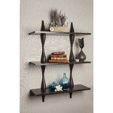 3 Shelf System with Decorative Undulating Brackets
