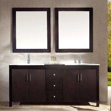 """Hanson 72"""" Double Bathroom Vanity Set with Mirror"""