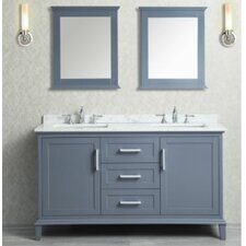 "Nantucket 60"" Double Bathroom Vanity Set with Mirror"