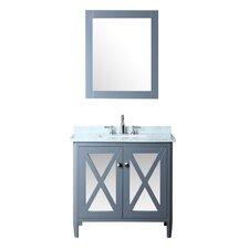 """Summit 36"""" Single Bathroom Vanity Set with Mirror"""
