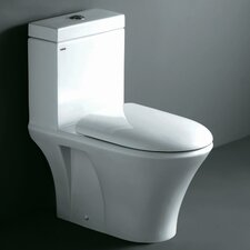 Milano Contemporary Elongated 1 Piece Toilet with Dual Flush