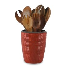 Casual Dining Utensil Vase in Brick Red and Dark Brown Lacquer