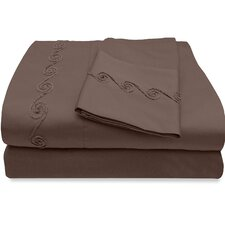 800 Thread Count Egyptian Quality Cotton Sheet Set with Chenille Swirl
