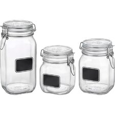Fido 3 Piece Square Chalk Label Jar Set