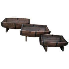Char-log 3 Piece Rectangular Planter Box Set
