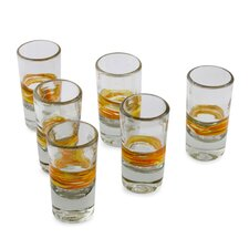 The Javier and Efren Handblown Striped Tequila Shot Glass (Set of 6)