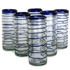 Javier and Efren Artisan Spiral Hand Blown Glass (Set of 6)