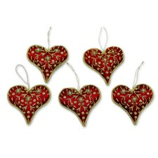 Hand Crafted Beaded Heart Ornament (Set of 5)