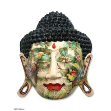 Handcrafted Buddha in Nature Crocodile Wood Mask Wall Décor