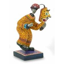 Folk Art Day of The Dead Cat Mask Ceramic Figurine