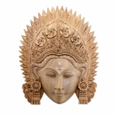 Balinese Hand Carved Natural Wood Janger Dance Mask Wall Décor