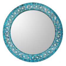 Round Flower Motif Glass Mosaic Tile Wall Mirror