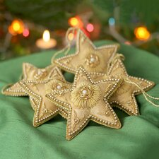 Golden Star Shaped Beaded Ornament (Set of 5)