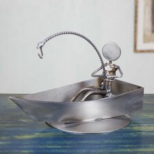 Handcrafted Recycled Metal Fisherman Model Boat