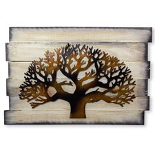 Iron And Recycled Wood Tree Wall Décor