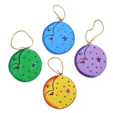 Fair Trade Moon and Star Hand Painted Ornament (Set of 4)