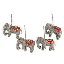 Rajesh Gehlot Elephant Handmade Ornament (Set of 4)