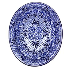 Alonso Lui Mexico Authentic Talavera Food Safe Ceramic Oval Plate