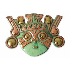 Angel Franco Handcrafted Warrior Archaeological Bronze Copper Mask Wall Decor