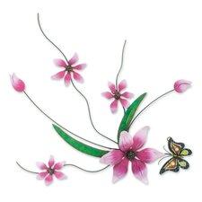 J.Blas Pink Flowers Handmade Painted Iron Wall Decor