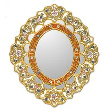 Fair Trade Reverse Painted Glass Oval Wall Mirror