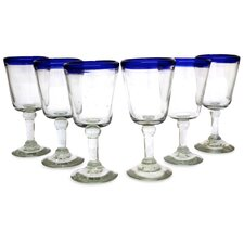 Javier and Efrén Mexico Hand Blown Rim Goblet Wine Glass (Set of 6)