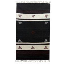 Hand-Woven Black/White Area Rug
