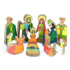 11 Piece Pinewood Nativity Scene Set