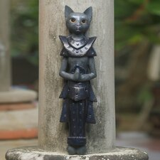 Palace Cat Thai Sculpture Hand Painted Wood Wall Décor