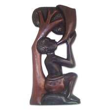 Peace Horn Hand Carved Relief Panel Wall Décor