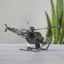 Rustic Helicopter Handmade Recycled Metal Eco Sculpture