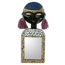 Beautiful Woman African Mask on Hand crafted Wall Mirror