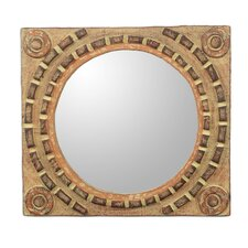 African Tradition Rustic Wood Wall Mirror