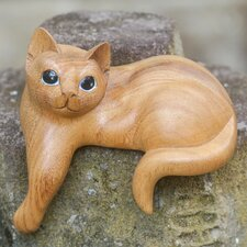 Watchful Ginger Cat Hand Carved Figurine