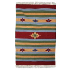 Hand Woven Green/Orange/Blue Area Rug