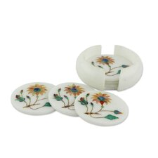 Dahlia Gems Floral Marble Inlay Coaster (Set of 6)