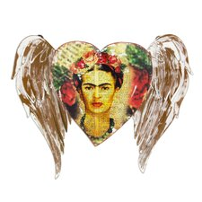 Frida's Heart Takes Wing Artisan Crafted Heart Theme Frida Kahlo Sculpture Wall Décor