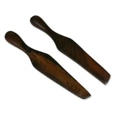Guatemalan Fry Up Collectible Wood Serving Utensil Kitchen Accessory (Set of 2)