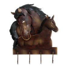 Horse Mom Love Unique Steel Horses Coat Rack and Key Holder