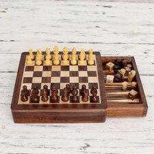 Rakesh Pathak 2 in 1 Wood Travel Chess and Backgammon