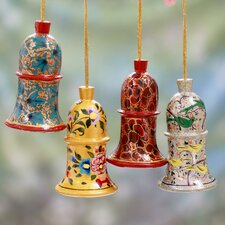Syed Izaz Hussein 4 Piece Hand Painted Wood Ornament Set