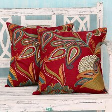 Seema Handmade Embroidered Applique Throw Pillow Cover (Set of 2)