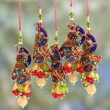 Dinesh Christmas Handcrafted Hand Beaded Ornament (Set of 5)