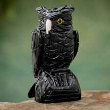 Cesar González Owl Guardian Onyx Bird Sculpture