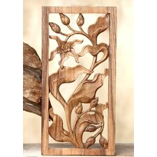 Bali Orchid Hand Carved Orchid Relief Panel Wall Décor